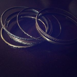 Jewelry - Gold, copper and silver bangle stack
